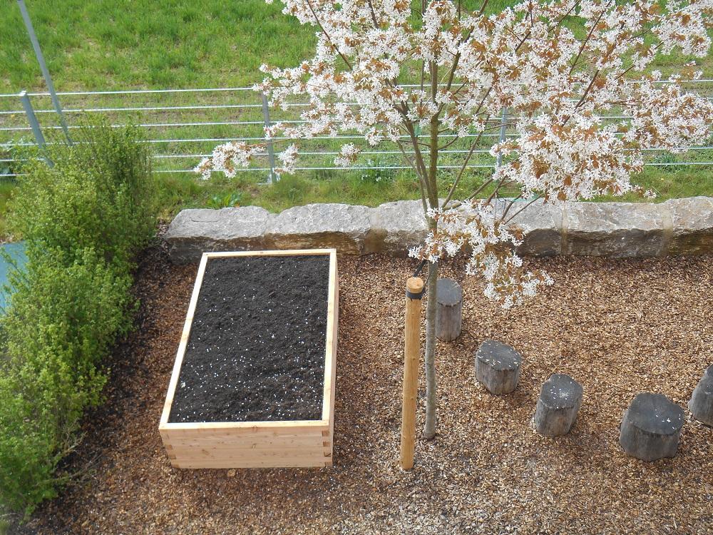 netzwerk natur, Übergabe des PflanzenWelten-Hochbeetes an das Kinderhaus Mobile in Sachsenhei