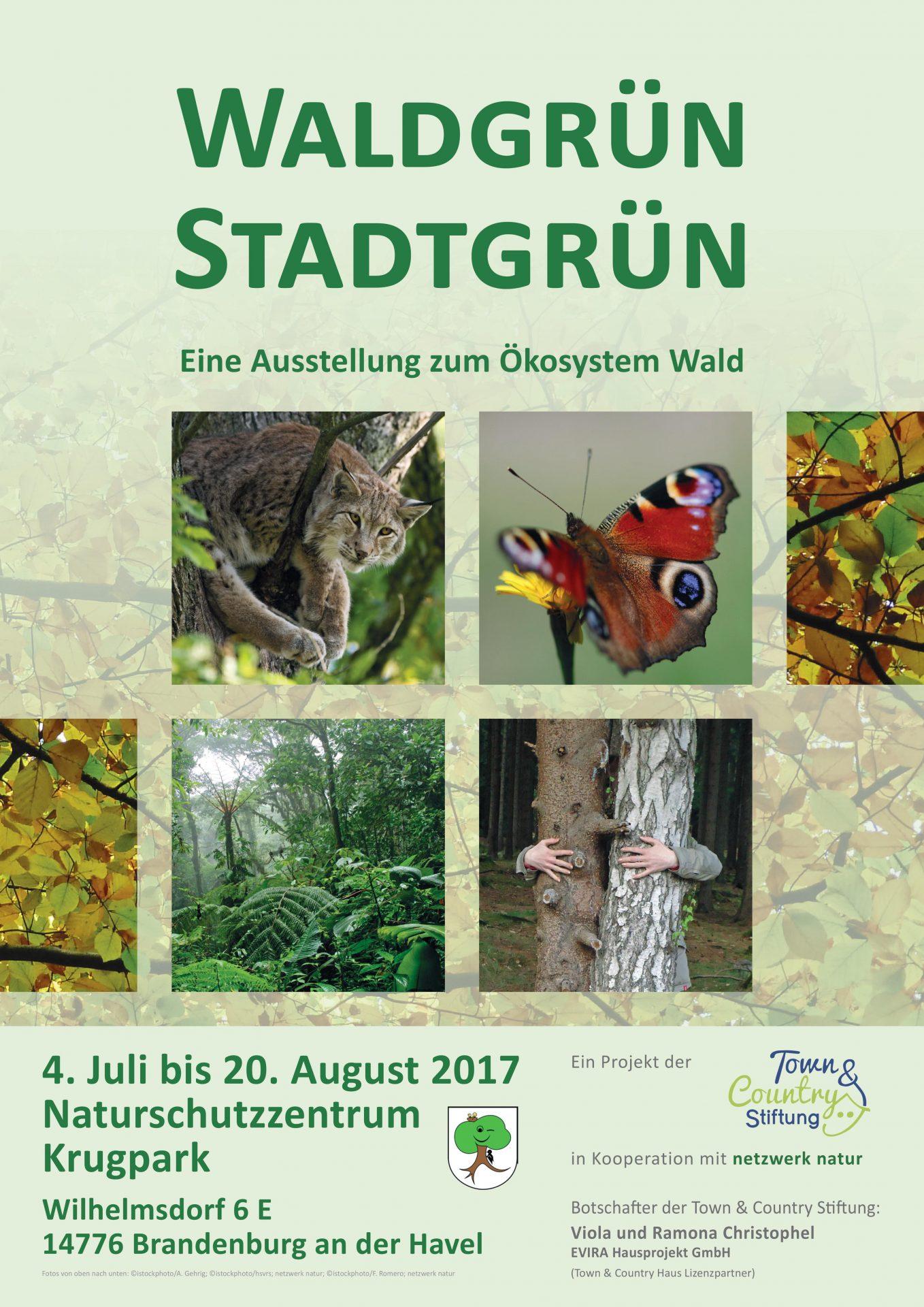 netzwerk natur, Plakat zur Wanderausstellung WALDGRÜN - STADTGRÜN, Naturschutzzentrum Krugpark Brandenburg an der Havel
