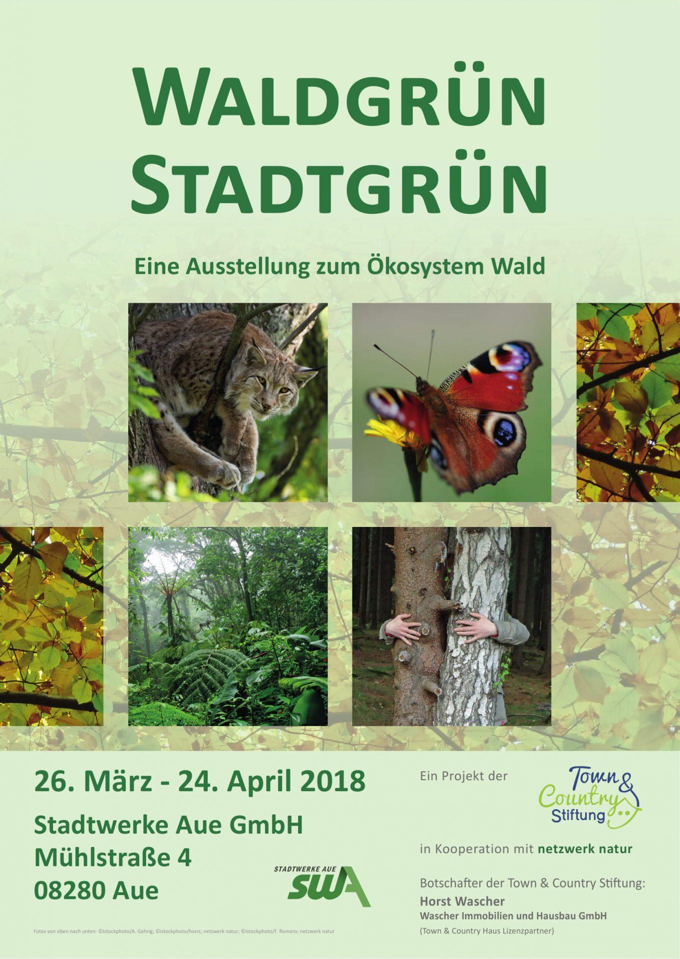 netzwerk natur, WALDGRÜN - STADTGRÜN in Aue, Plakat zur Ausstellung