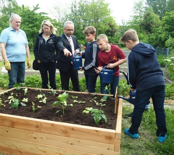 netzwerk natur Übergabe des PflanzenWelten-Hochbeetes an der Kolibri-Grundschule in Berlin