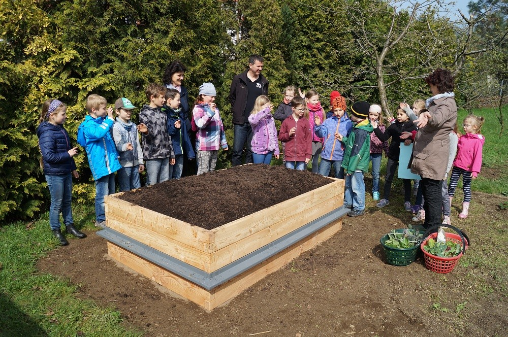 netzwerk natur, PflanzenWelten, Übergabe des Hochbeetes an die Grundschule Weinböhla