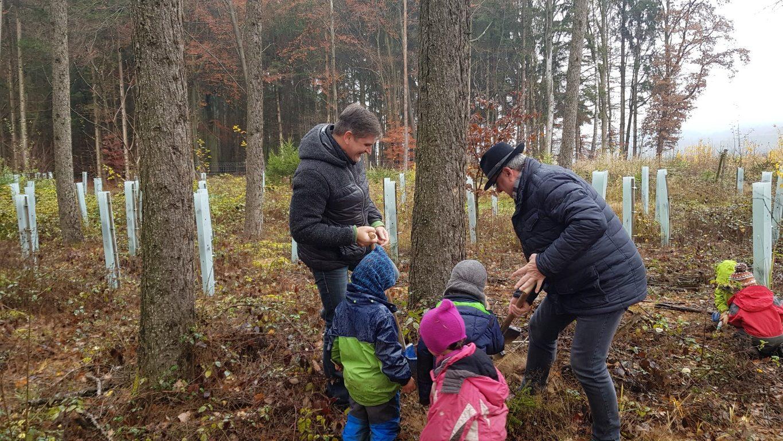 Pflanzung der 381 Bäume am Waldkindergarten Niederaichbach (Foto Lachner)