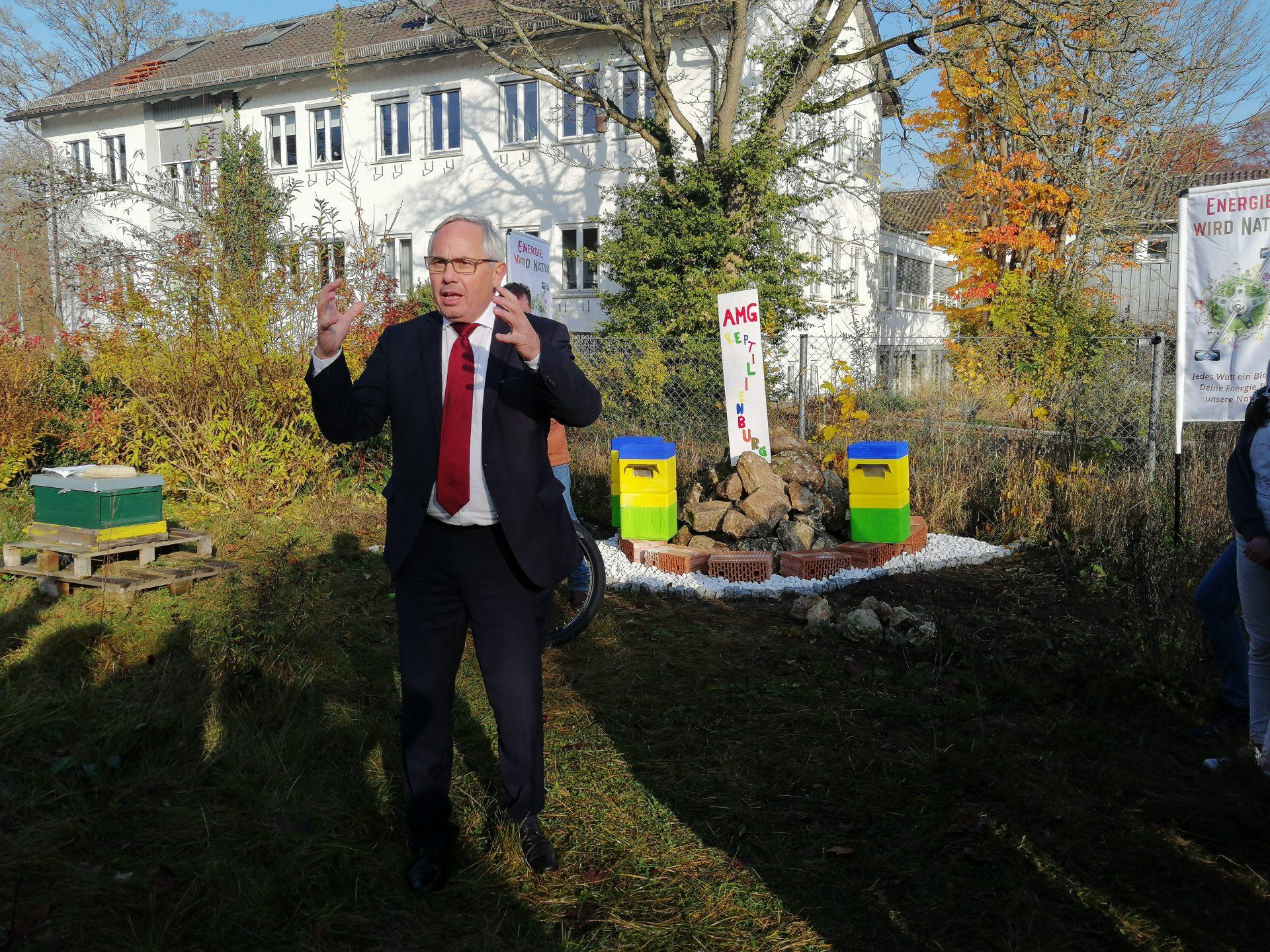 Energie wird Natur, Übergabe der Spenden an die Regensburger Schulen, Ansprache Bürgermeister Jürgen Huber, 19_11_19, Ansprache Bürgermeister Huber (Foto Kemmeter)